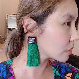 Zara green tassel earring NWOT $15